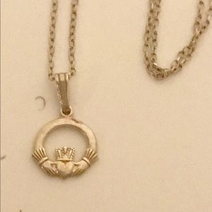 Sterling Silver Irish Claddagh Necklace 925